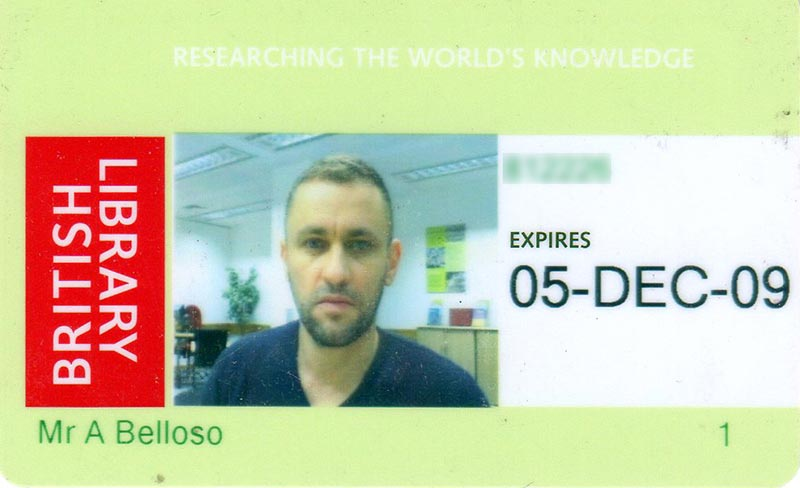 My British Library pass. I should have smiled for this photo.