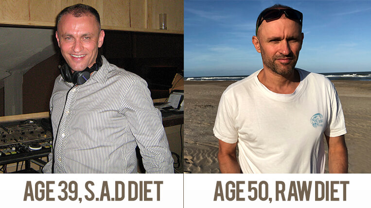 The pic on the left was taken before I started my raw food journey. It took me a few weeks since that pic was taken to get in good shape and many years later, by the age of 50, it still works. In fact, I believe I look much younger and fitter at 50 than I was at 39.