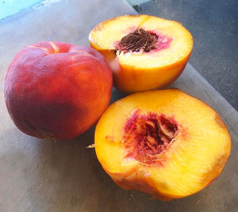 Peaches on my chopping board
