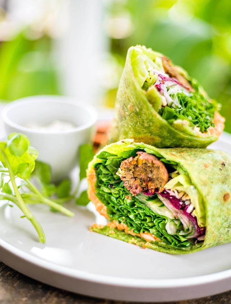 Raw Vegan Tortilla Wraps with 'Meat' Balls, Veggies and Avocado